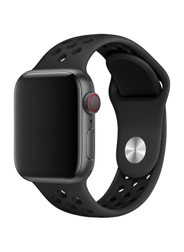 Jacobson Jacobson Melefoni Apple Watch 38-40 mm Spor Delikli Kordon Silikon Kayış Siyah